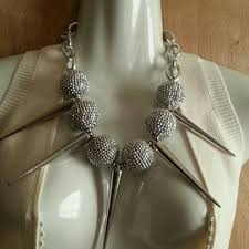 large silver balls and spikes necklace 52 21543302 jewelry