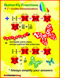 butterfly fraction adding u0026 subtracting fractions poster cards