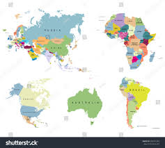 Eurasia Map Territory Continents Usa Europe Australia Africa Stock Vector