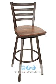 Wooden Swivel Bar Stool Gladiator Rustic Brown Powder Coat Ladder Back Swivel Bar Stool W