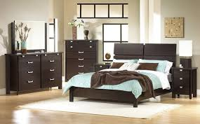 grey themes bedroom white dark brown wooden bed and blue bedding