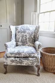 How To Reupholster A Wingback Armchair Furniture Upholstering A Wingback Chairs With Blue Color And