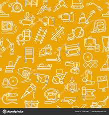 construction equipment and tools seamless background yellow