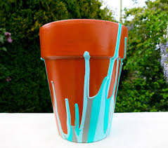 Flower Pots - drip paint flower pot 4 steps with pictures