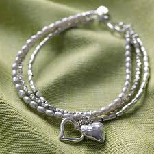women bracelet heart images Silver double heart bracelet by kathy jobson jpg