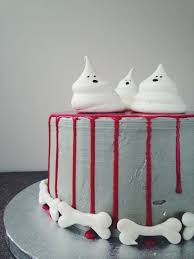 Spooky Halloween Cake Spooky Halloween Blood Drip Cake With Meringue Ghosts And Bones