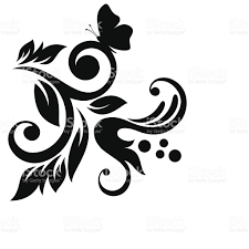 blackandwhite flower leaves and butterfly design element stock