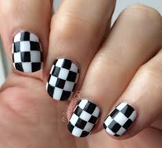 how to do checkered and polka dots designs on nail art