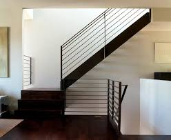 grid patterned rusted metal railing staircase modern with neutral