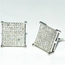 diamond back earrings large diamond stud earrings square princess cut shape 15ctw real