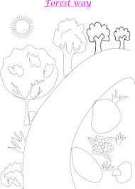 forest scenery coloring printable kids