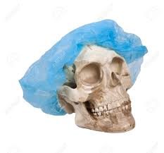 hair net skull with eye sockets and teeth wearing a hair net stock