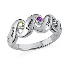 mothers ring s ring with four birthstones mynamenecklace