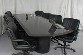 Black Meeting Table Rectangle Black Glass Conference Table Added By Black Leather