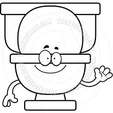 cartoon toilet waving black and white line art by cory thoman