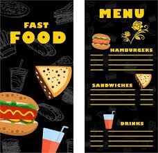 fast food menu template contrast design on dark free vector in