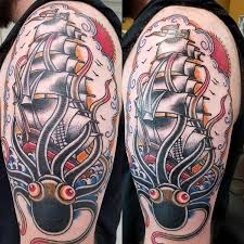 traditional ship and kraken tattoo by glenn collins tattoonow