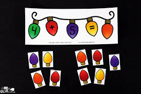 Kindergarten Math Christmas Worksheets Christmas Lights Addition Printable Math Worksheets A Dab Of