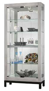 Curio Cabinet With Glass Doors 680599 Howard Miller Silver Reclaimed Finish Curio Cabinet