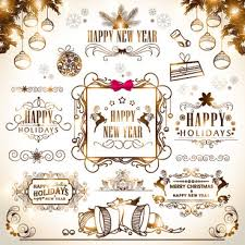 vintage new year and ornaments vector set