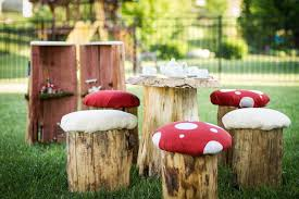 Stump Chair Real Tree Stump Toadstool Mushroom Stool Table And Chair Set Party