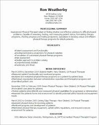physical therapist resume template therapist resume exle luxury physical therapy resume