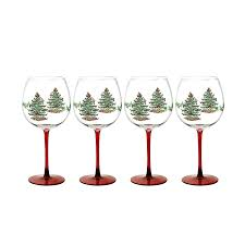 christmas glasses spode christmas tree glass wine goblet with stem