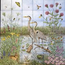 Hand Painted Tiles For Kitchen Backsplash Great Blue Heron Pair