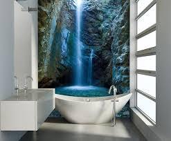 tapeten fã r badezimmer moderne wandgestaltung im badezimmer fototapete mit wasserfall