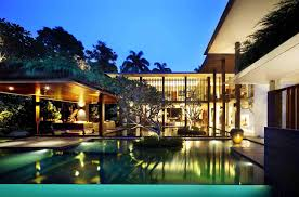 swimming pool architecture luxury balinese home design with red