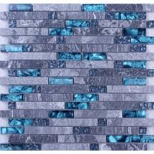 Grey Marble Stone Blue Glass Mosaic Tiles Backsplash Kitchen Wall Tile - Blue glass tile backsplash