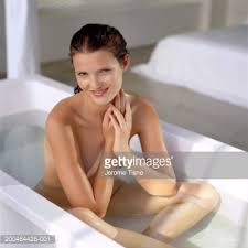 Women Bathtub Young Woman Sitting In Bath Smiling Portrait Stock Photo