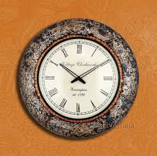large decorative wooden wall clock with colourful mosaic glass