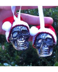 savings santa skull ornaments with glitter