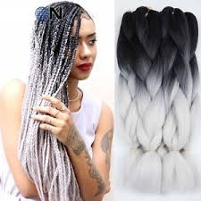 ombre kanekalon braiding hair 5 packs black light grey 24 ombre kanekalon braiding hair