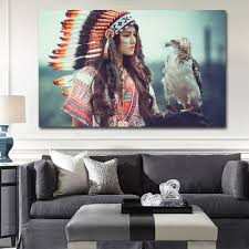 aliexpress com buy native american with eagle wall art
