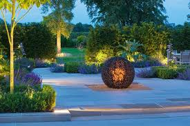 ornamental garden landscape contemporary with lighting modern post