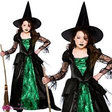 Witch Halloween Costumes Emerald Witch Deluxe Kids Costume 5 7 Years Amazon Co Uk