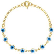 eye bracelet images 18k gold plated turkish nazar blue evil eye bracelet for girls link 6 quot jpg