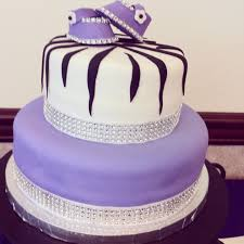 baby shower cake i made her theme was purple and zebra print with