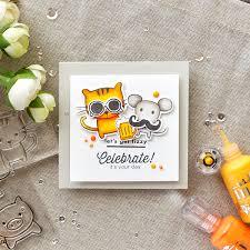 hero arts wobbler let u0027s get fizzy funny cat u0026 mouse birthday