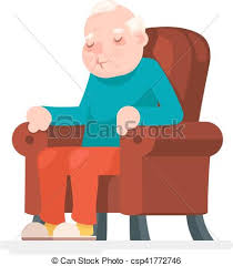 Clipart Armchair Eps Vector Of Old Man Character Sit Sleep Armchair Icon