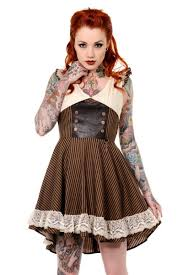 banned steampunk clothing retro brown black striped steampunk