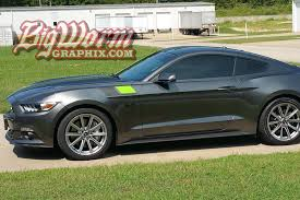 Black Mustang With Green Stripes 2015 17 Mustang Fender Accent Stripes From Big Worm Graphix