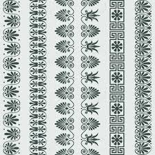 Greek Motifs Set Traditional Vintage Greek Ornament Meander And Floral Pattern