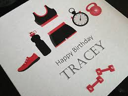 personalised handmade birthday card fitness gym any name any