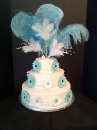 first wedding cake turquoise gerbera daisy cakecentral com