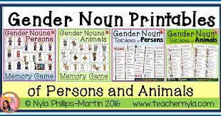 nyla u0027s crafty teaching gender noun printables
