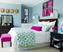 Two Tone Blue Bedroom Modern Bedroom Decorated With Modern Furniture And Large Mirror