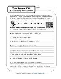 commas and coordinating conjunctions free printable punctuation